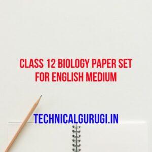 class 12 biology paper set for english medium